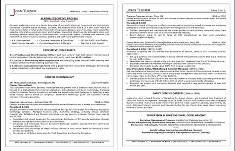 In depth review professional resume services inc for Executive cv